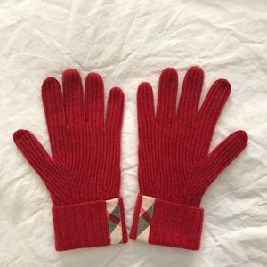 BURBERRY 100% Cashmere Rib Knit Touch Gloves Red